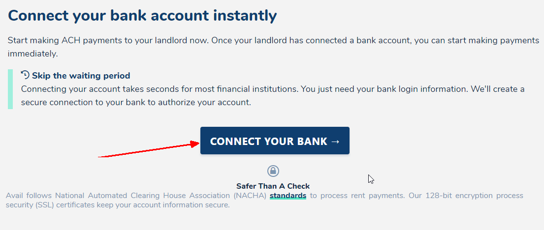 Connecting a bank account to pay rent without entering an