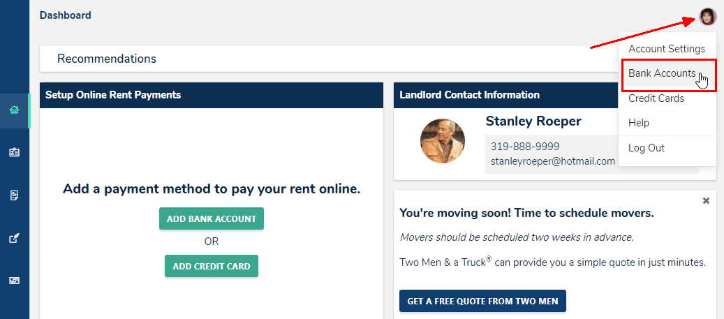 Updating a bank account connection to pay rent through